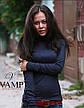 Бордовая женская однотонная тонкая водолазка, фото 6