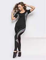 Костюм для фитнеса женский черный с серым лосины и футболка