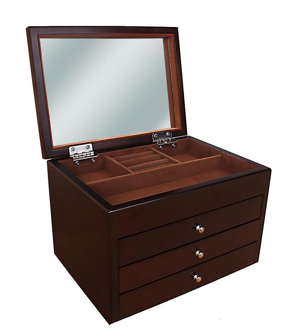 Деревянная шкатулка-органайзер Wooden Collection для украшений, коричневая, 4 уровня
