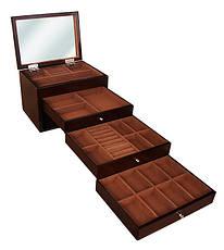 Деревянная шкатулка-органайзер Wooden Collection для украшений, коричневая, 4 уровня, фото 2