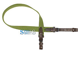 Ремінь рушничний прямий (стрічка ЛРТ, коричнева шкіра) 110 см