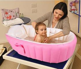 НАДУВНА ВАННОЧКА INTIME BABY BATH TUB + НАСОС Рожевий