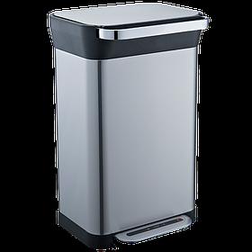 Ведро для мусора JAH 50 л (прямоугольное, цвет черный металлик, с трамбовкой)