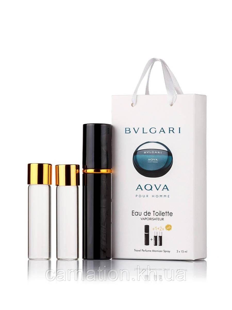 Подарочный набор  Bvlgari Aqva Pour Homme 3 по 15 мл