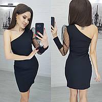 Женское черное Платье на одно плечо