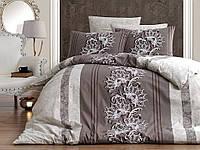 Комплект постельного белья First Choice Ranforce Nell Kahve Двуспальный Евро