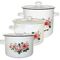 """Набір емаль посуду №242 (3пр 2л. 4.5 л. 5.5 л) """"Ранкова троянда"""" 0598 НМТЗ"""