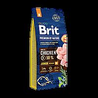 Сухой корм Brit Premium Dog Junior M для щенков и молодых собак средних пород с мясом курицы 15 кг
