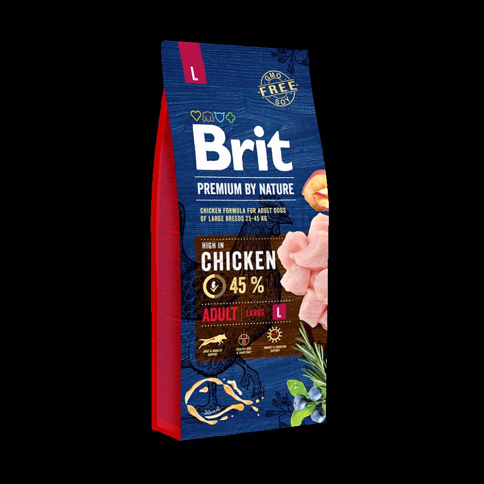 Сухой корм Brit Premium Dog Adult L для взрослых собак крупных пород с мясом курицы 15 кг