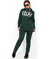 Женский зеленый модный спортивный костюм двойка размеры от XL