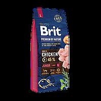Сухой корм Brit Premium Dog Junior L для щенков и молодых собак крупных пород со вкусом курицы 15 кг