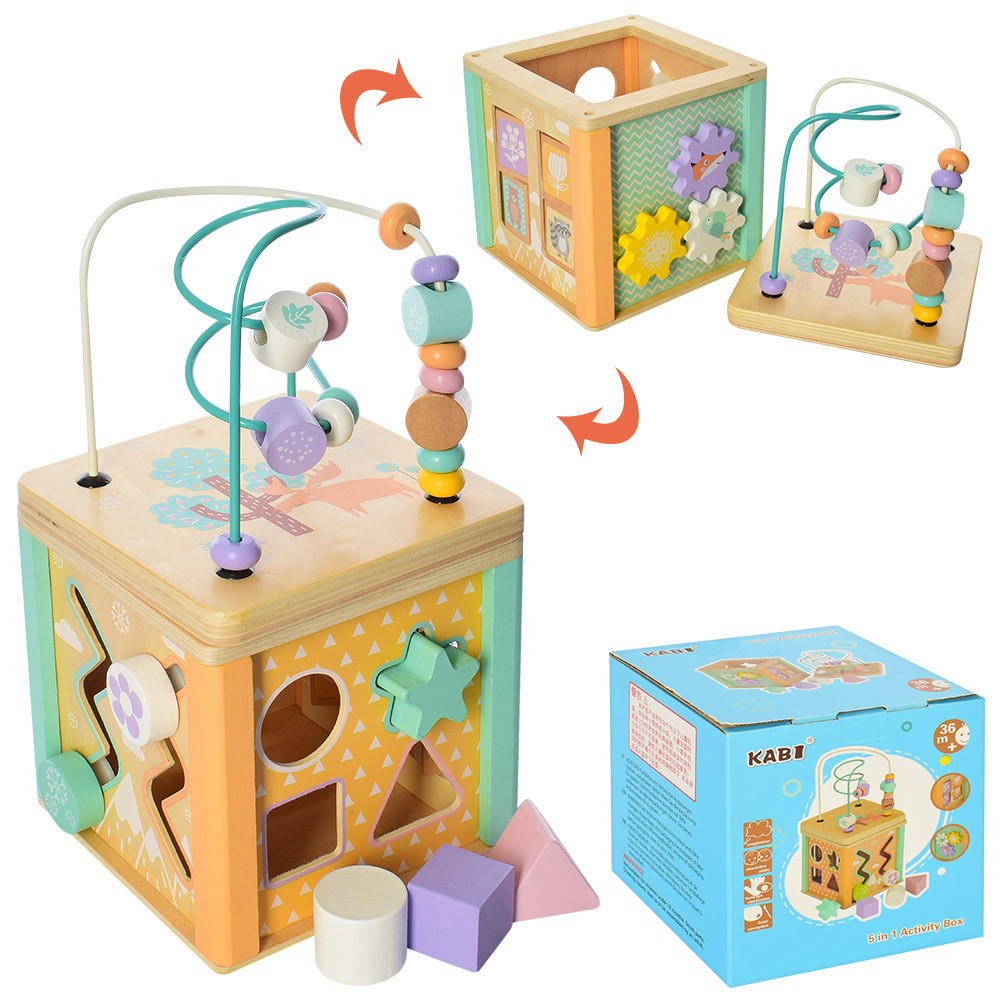 """Деревянная игрушка """"Центр развивающий"""", лабиринт на проволоке, сортер, MD2253"""