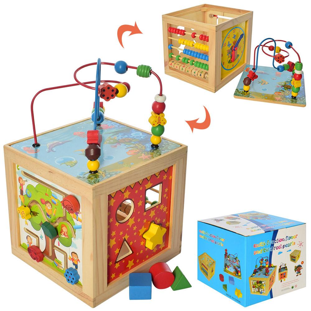 """Деревянная игрушка """"Центр развивающий"""", лабиринт на проволоке, сортер, счеты, MD2270"""