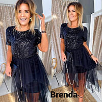 Стильное черное Платье паетка+ евро сетка