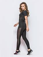 Спортивный костюм для фитнеса и йоги лосины и футболка с сеткой, черный, фото 1