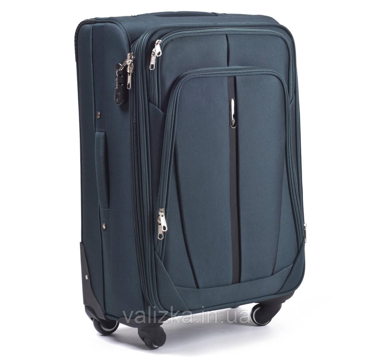 Текстильный чемодан большого размера на 4-х колесах Wings 1706 темно-зеленого цвета.