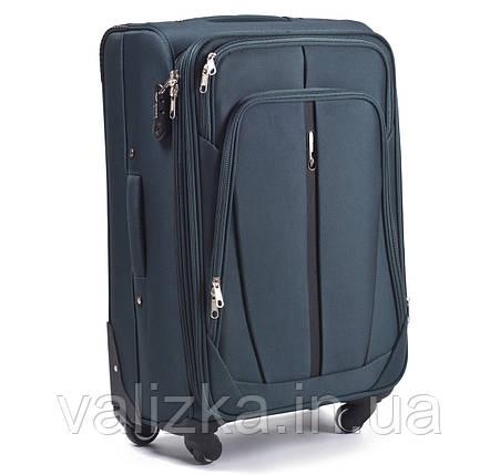 Текстильный чемодан большого размера на 4-х колесах Wings 1706 темно-зеленого цвета., фото 2