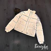Светоотражающая женская куртка короткая с воротником стойкой 66KU269Q, фото 1