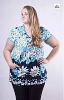 Туника женская батальная летняя трикотажная с цветами 52-64р.