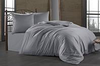 Набор постельного белья евро Zugo Home сатин однотонный Silver