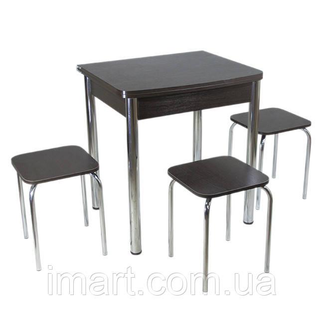 Столовый набор Тавол Овале (Раскладной стол + 3 табурета) ножки хром металл Венге
