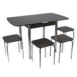 Столовый набор Тавол Овале (Раскладной стол + 3 табурета) ножки хром металл Венге, фото 2