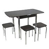 Столовый набор Тавол Овале (Раскладной стол + 3 табурета) ножки хром металл Венге, фото 7