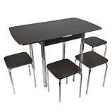 Столовый набор Тавол Овале (Раскладной стол + 3 табурета) ножки хром металл Венге, фото 8
