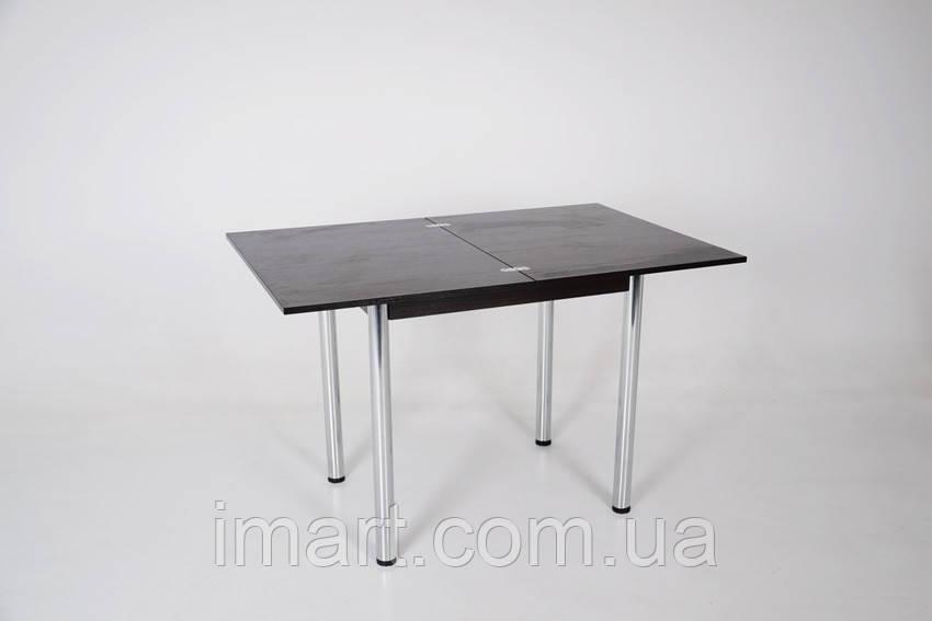 Стол Тавол Ретта раскладной 80 см х 60 см (120см х 80см) с металлическими хромированными ногами Венге