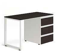 Стол Тавол Loft КС 8.1 со стационарной тумбой металл опоры черные 120смх60смх75см ДСП Венге Белый