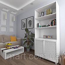 Шкаф с жалюзийными дверями из натурального дерева Тавол Сиеко 2Д3ПОЛ 900х450х2080 Белый