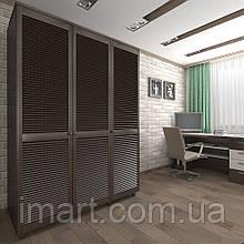 Шкаф с жалюзийными дверями из натурального дерева Тавол Сиеко 3Д 1500х600х2080 Венге