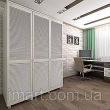 Шкаф с жалюзийными дверями из натурального дерева Тавол Сиеко 3Д 1500х600х2080 Белый