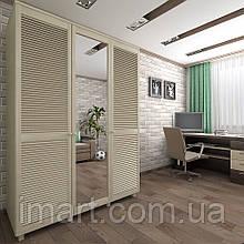 Шкаф с жалюзийными дверями из натурального дерева Тавол Сиеко 3Д Зеркало 1500х600х2080 Молочный