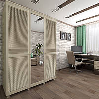 Шкаф с жалюзийными дверями из натурального дерева Тавол Сиеко 3Д Зеркало 1500х600х2080 Венге