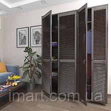 Шкаф с жалюзийными дверями из натурального дерева Тавол Сиеко 4Д5ПОЛ 1500х450х2080 Венге