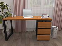 Стол Тавол КС 8.3 со стационарной тумбой металл опора черная 140смх60смх75см ДСП 32 мм Орех-Черный