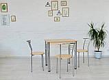 Обеденный комплект Тавол Ретта (стол не раскладной+3 стула) 80смх60смх75см ножки хром Молочный, фото 4