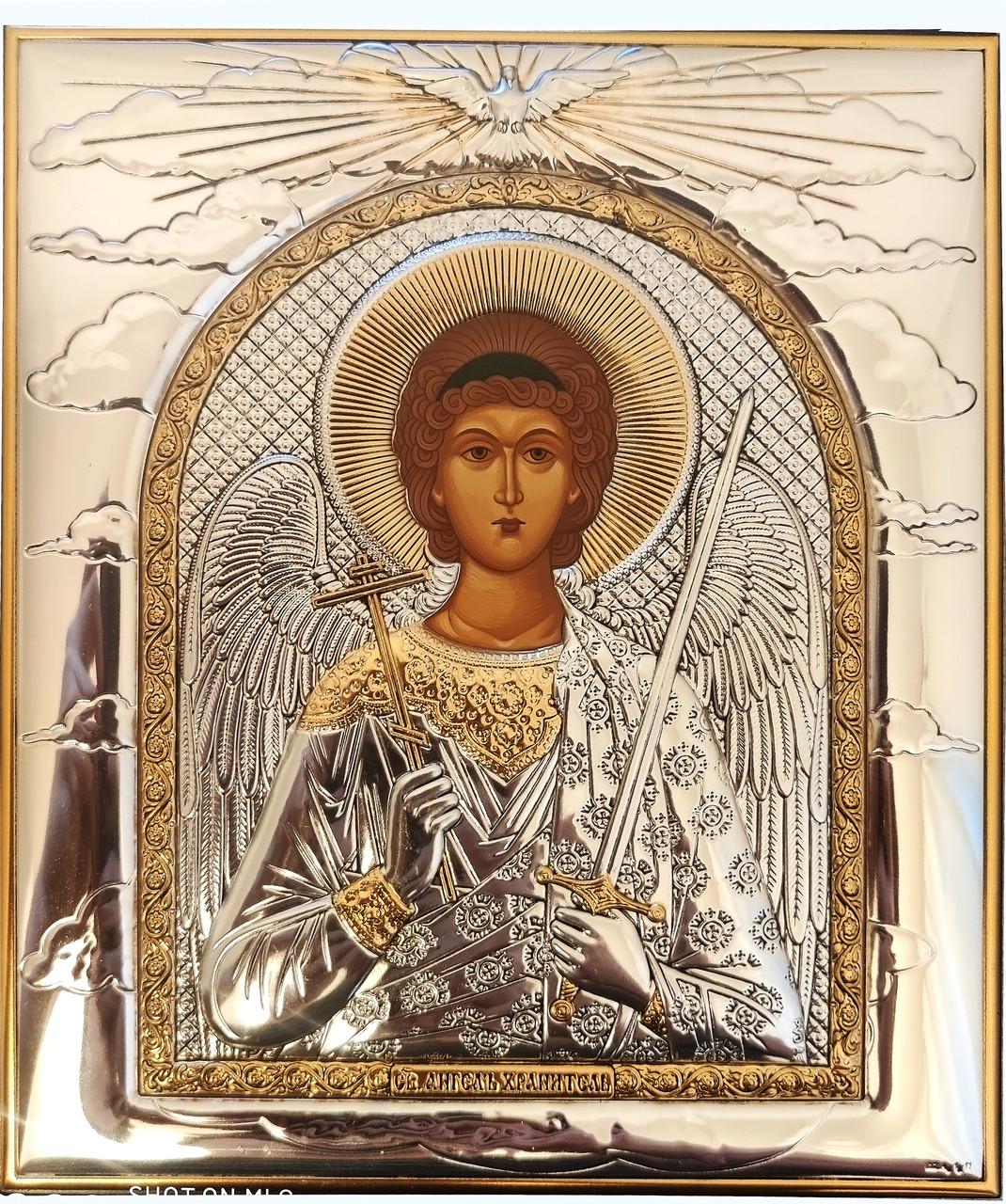 Икона Ангела Хранителя 16х19см в серебряняном окладе с позолотой