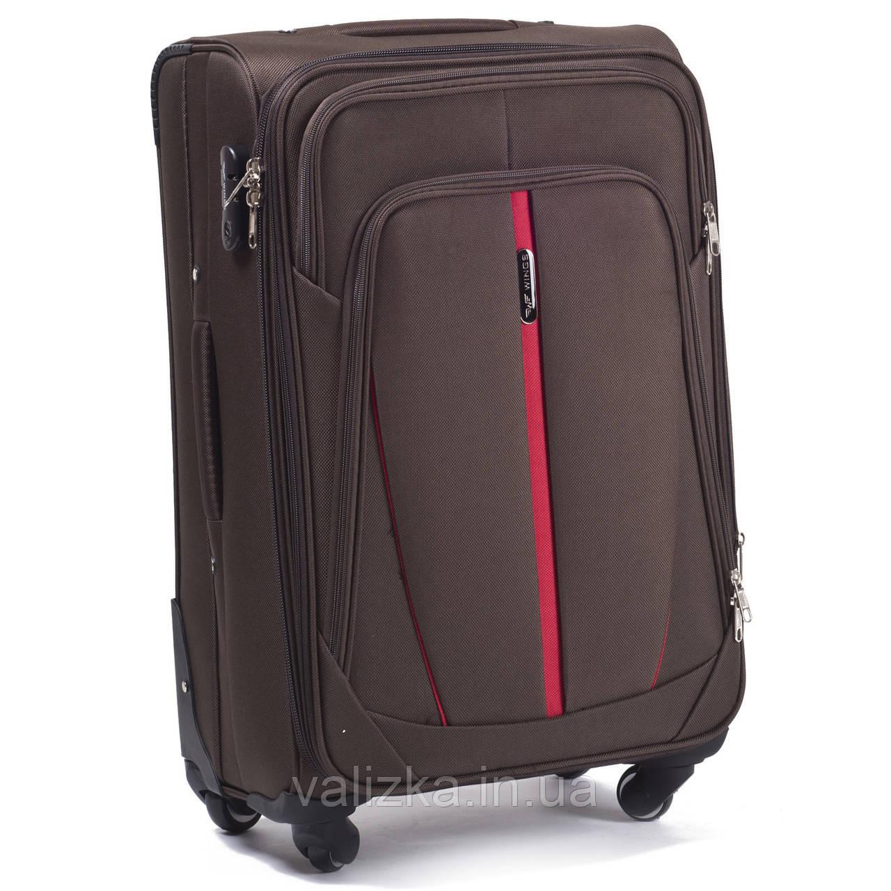 Средний текстильный чемодан на 4-х колесах Wings-1706  кофейного цвета.