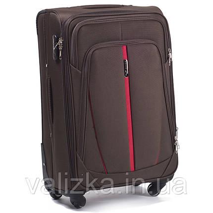 Средний текстильный чемодан на 4-х колесах Wings-1706  кофейного цвета., фото 2