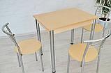 Обеденный комплект Тавол Ретта (стол не раскладной+3 стула) 80смх60смх75см ножки хром Молочный, фото 2