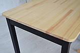 Стол из натурального дерева Тавол Легно с прямыми ногами 100смх60смх75см Натуральный/Черный, фото 2