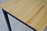 Стол из натурального дерева Тавол Легно с прямыми ногами 100смх60смх75см Натуральный/Черный, фото 3