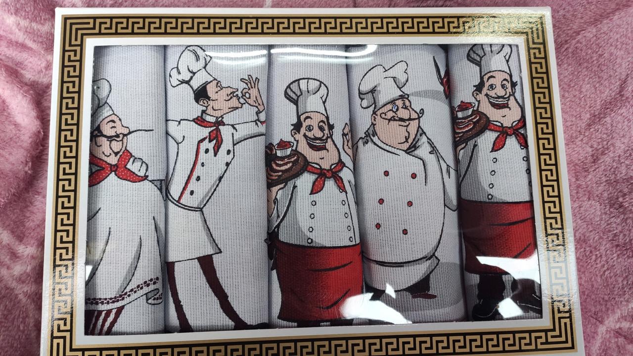 Набір з 5-ти кухонних лляних рушників