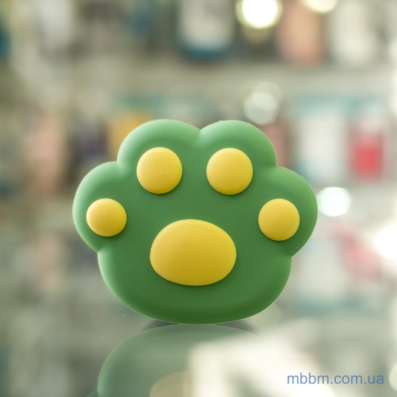Держатель для телефона (попсокет, posocket) 3D [Лапа Зеленая/Желтая]