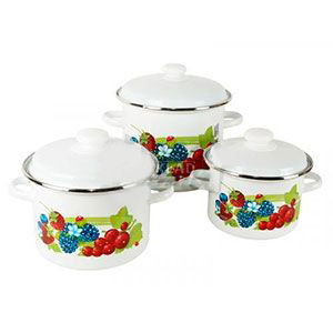 "Набор эмаль посуды №92 (3пр 1л 2л 3л ) "" Смузи""  0404 НМТЗ /92"