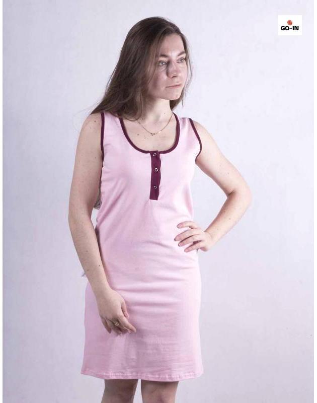 Нічна сорочка жіноча трикотажна рожева молодіжна облягає р. 42-54