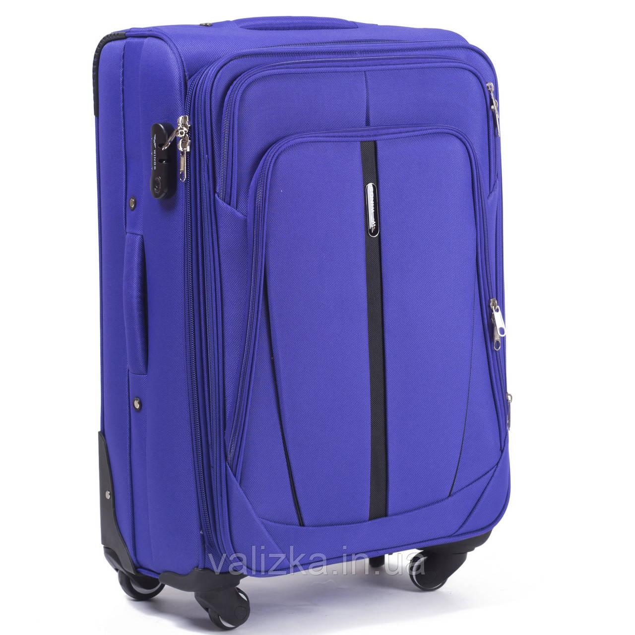 Средний текстильный чемодан на 4-х колесах Wings-1706 фиолетового цвета.