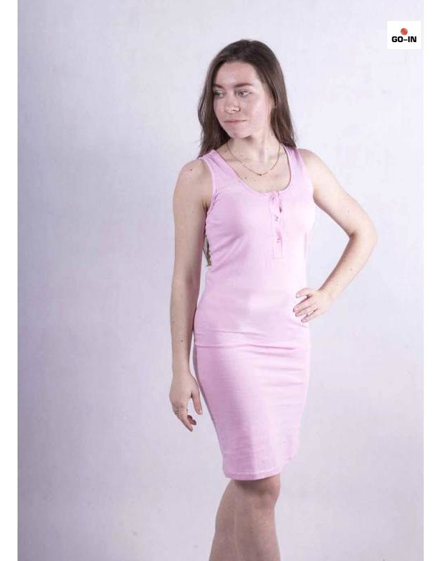Нічна сорочка жіноча трикотажна рожева молодіжна облягаюча